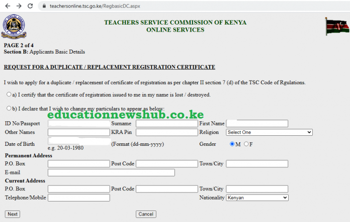 Replacing a lost TSC Registration Certificate. Here is the online procedure.
