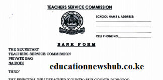 TSC change of pay point form for teachers' salaries.