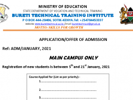 Bureti Technical College admission/application form.