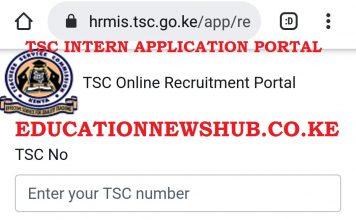 TSC intern application portal https://hrmis.tsc.go.ke/app/login.