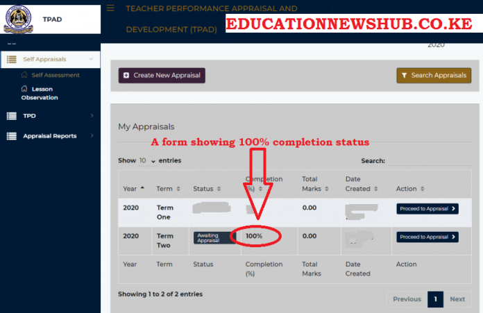 A TSC TPAD 2 form showing a 100 percent processing status.