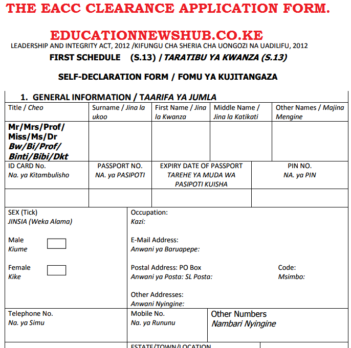 The Ethics and Anti-corruption (EACC) clearance application form.