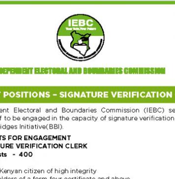 Latest IEBC jobs.