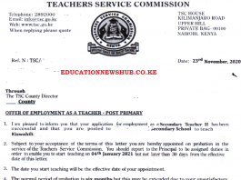 TSC posting letters for teachers, 2021.