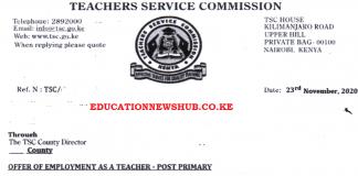 TSC posting letters for teachers, 2021.