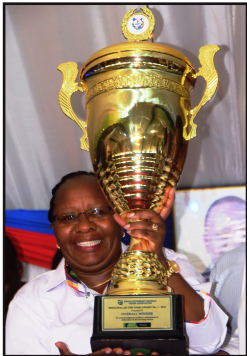 Othaya Girls' Secondary School Chief Principal Jane Kimiti who has been crowned the 2020 winner of the coveted Africa Union Teacher Prize