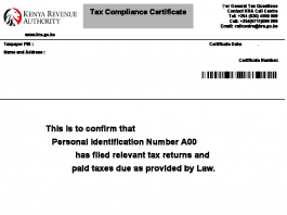 The KRA Tax Compliance Certificate (TCC).