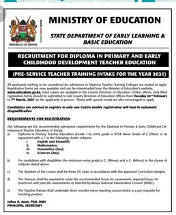 Application form for Diploma in Primary Education Course.