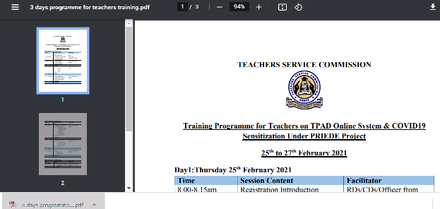 Tpad 2 training for teachers by TSC.