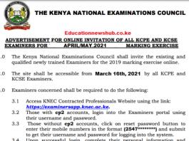 Knec examiners portal 2021