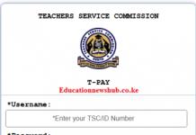 The new TSC Payslip portal login at tpay.tsc.go.ke