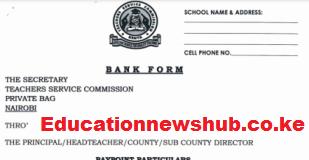 TSC Bank Form For Teachers