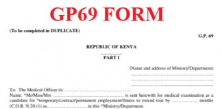 TSC Gp69 Form. The Medical Examination Report Form