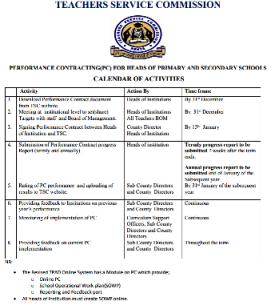 TSC performance Contracting Calendar of Activities