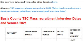 TSC mass recruitment interview dates and venues for Busia County