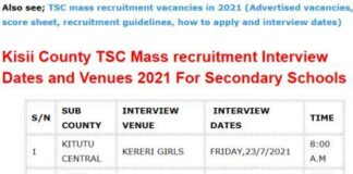 TSC mass recruitment interview dates and venues for Kisii County